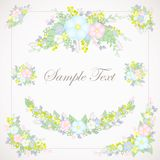 Set of floral illustrations of pastel shades. 