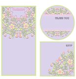 Set of floral invitation cards in gentle tones. Royalty Free Stock Photos