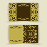 Set of floral invitation cards Stock Photos