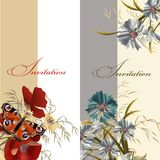 Set of floral invitations Royalty Free Stock Image