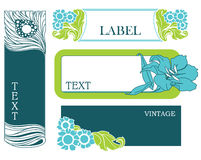 Set of floral labels. A set of floral labels isolated on white Stock Images