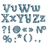 Set of floral letters. Hand drawn font. Stock Images