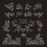 Set of floral line design elements. Luxury vintage vector set of floral line design elements for logos, frames and borders in modern style Royalty Free Stock Photos