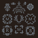 Set of floral line design elements. Luxury vintage vector set of floral line design elements for logos, frames and borders in modern style Stock Images