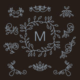 Set of floral line design elements. Luxury vintage vector set of floral line design elements for logos, frames and borders in modern style Royalty Free Stock Image