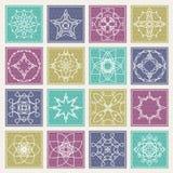Set of floral monogram design. Line art elements. Vector illustr stock image