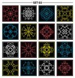 Set of floral monogram design. Line art elements. Vector illustr Royalty Free Stock Photo