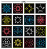 Set of floral monogram design. Line art elements. Vector illustr Royalty Free Stock Image