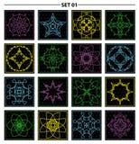 Set of floral monogram design. Line art elements. Vector illustr Stock Images