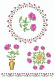 Set of floral motifs with tender light purple roses blossom. Rose in a wreath, rose in a vase, bouquet of roses, frame border with Stock Image