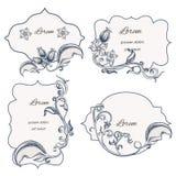 Set floral ornament frame and labels Stock Images