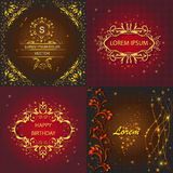 Set floral ornament greeting card. Set cards with pattern, floral design, corporate identity and greeting cards decorated  lights. Vector Illustration Royalty Free Stock Photos
