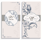 Set floral ornament wine list and menu Royalty Free Stock Photo
