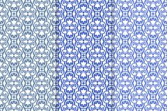 Set of floral ornaments. Blue vertical seamless patterns Stock Images