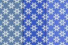 Set of floral ornaments. Blue vertical seamless patterns Royalty Free Stock Photography