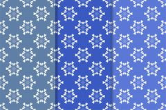 Set of floral ornaments. Blue vertical seamless patterns Stock Photography