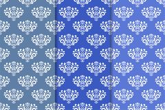 Set of floral ornaments. Blue vertical seamless patterns Royalty Free Stock Photo