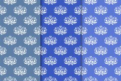 Set of floral ornaments. Vertical blue seamless patterns. Set of floral ornaments. Blue vertical seamless patterns. Wallpaper backgrounds Royalty Free Stock Images