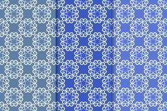 Set of floral ornaments. Vertical blue seamless patterns. Set of floral ornaments. Blue vertical seamless patterns. Wallpaper backgrounds Stock Image