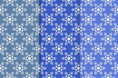 Set of floral ornaments. Vertical blue seamless patterns. Set of floral ornaments. Blue vertical seamless patterns. Wallpaper backgrounds Royalty Free Stock Photo