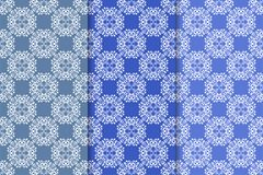 Set of floral ornaments. Blue vertical seamless patterns Royalty Free Stock Image