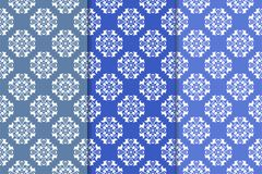 Set of floral ornaments. Vertical blue seamless patterns Royalty Free Stock Photography