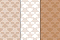 Set of floral ornaments. Brown, beige and white seamless patterns. For textile and wallpapers Royalty Free Stock Images