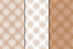 Set of floral ornaments. Brown, beige and white seamless patterns Stock Image