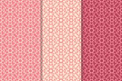 Set of floral ornaments. Cherry pink vertical seamless patterns. Wallpaper backgrounds Royalty Free Stock Photos