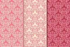 Set of floral ornaments. Cherry pink vertical seamless patterns Royalty Free Stock Photos
