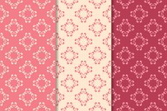 Set of floral ornaments. Cherry pink vertical seamless patterns Royalty Free Stock Image