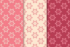 Set of floral ornaments. Cherry pink vertical seamless patterns Stock Images