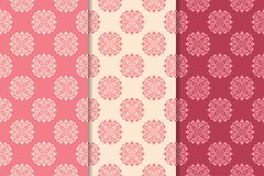 Set of floral ornaments. Cherry red vertical seamless patterns Stock Image