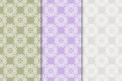 Set of floral ornaments. Colored vertical seamless patterns Royalty Free Stock Photos