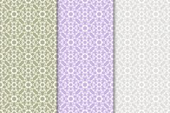Set of floral ornaments. Colored vertical seamless patterns. Set of floral ornaments. Colored seamless patterns. Wallpaper backgrounds Stock Photos