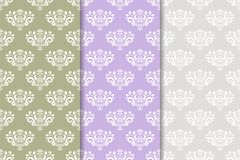 Set of floral ornaments. Colored vertical seamless patterns Royalty Free Stock Photography