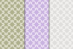Set of floral ornaments. Colored vertical seamless patterns Stock Photo