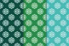 Set of floral ornaments. Green set of vertical seamless patterns Royalty Free Stock Images
