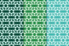Set of floral ornaments. Green set of vertical seamless patterns Royalty Free Stock Image