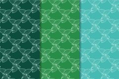 Set of floral ornaments. Green set of vertical seamless patterns Royalty Free Stock Photo