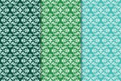 Set of floral ornaments. Green vertical seamless patterns Royalty Free Stock Image