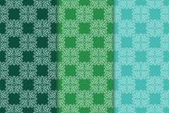 Set of floral ornaments. Green vertical seamless patterns Stock Photography