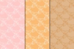 Set of floral ornaments. Orange vertical seamless patterns Royalty Free Stock Image