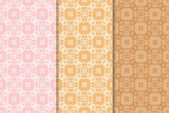 Set of floral ornaments. Orange vertical seamless patterns Royalty Free Stock Photos