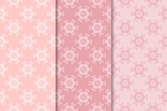 Set of floral ornaments. Pale pink vertical seamless patterns. Set of floral ornaments. Set of pale pink vertical seamless patterns. Wallpaper backgrounds Royalty Free Stock Photos