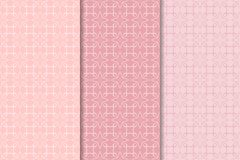 Set of floral ornaments. Pale pink vertical seamless patterns Stock Image