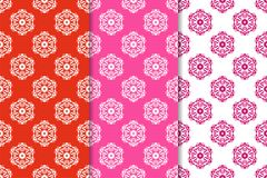 Set of floral ornaments. Red fuchsia seamless patterns. Set of floral ornaments. Set of red fuchsia vertical seamless patterns. Wallpaper backgrounds Royalty Free Stock Image