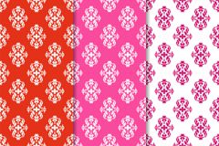 Set of floral ornaments. Red vertical seamless patterns Royalty Free Stock Image