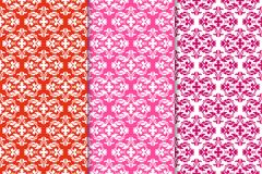 Set of floral ornaments. Red vertical seamless patterns Stock Images