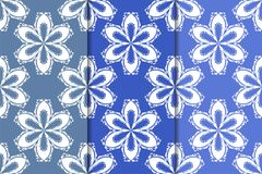 Set of floral ornaments. Vertical blue seamless patterns Royalty Free Stock Photo